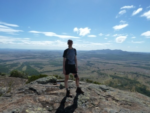 Me standing on the bluff at Mt Walsh (Mt Walsh National Park, near Biggenden). One of my favourite places!